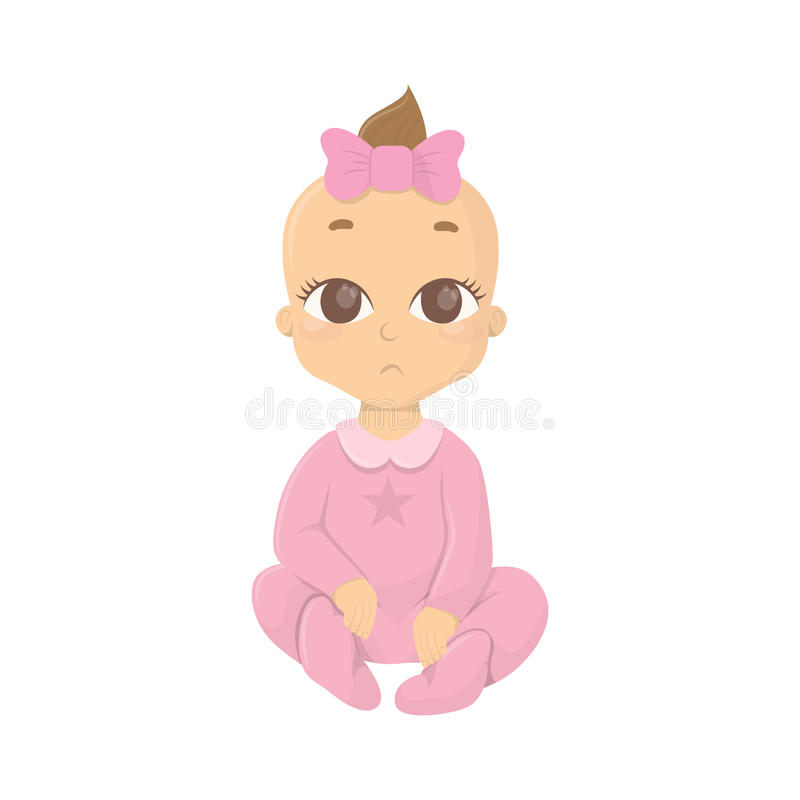 Baby girl in pink. royalty free illustration