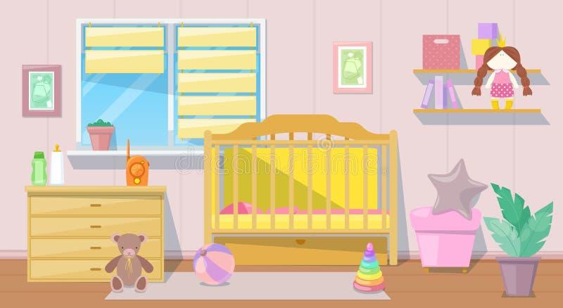 Baby girl pink room interior, vector cartoon illustration. Nursery bedroom furniture and design elements for newborn.  vector illustration