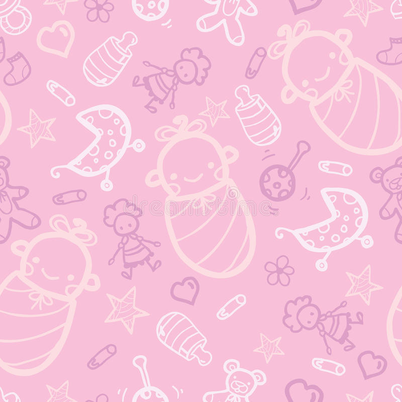 Baby girl pink seamless pattern background vector illustration