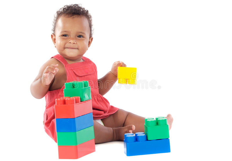 Baby girl playing stock photography