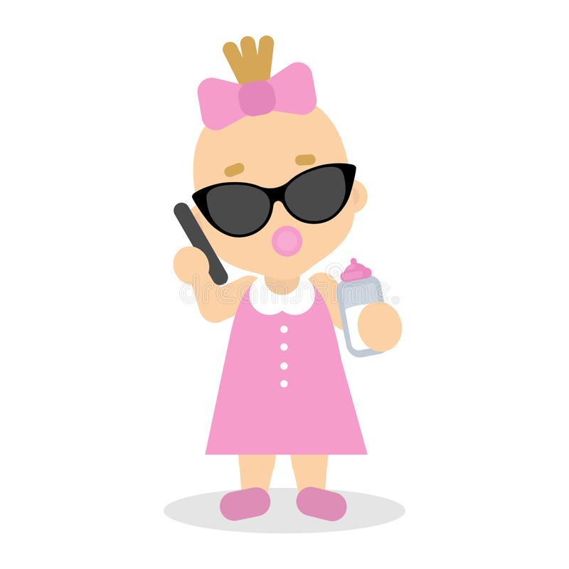 Baby girl playing. Baby girl playing in adult businesswoman with sunglasses and smartphone stock illustration
