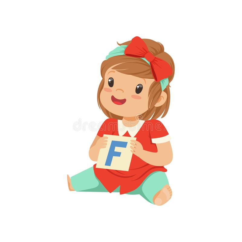 Baby girl playing learning game with letter F card. Speech therapy exercise. Flat child character. Baby girl playing learning game with letter F card. Speech royalty free illustration