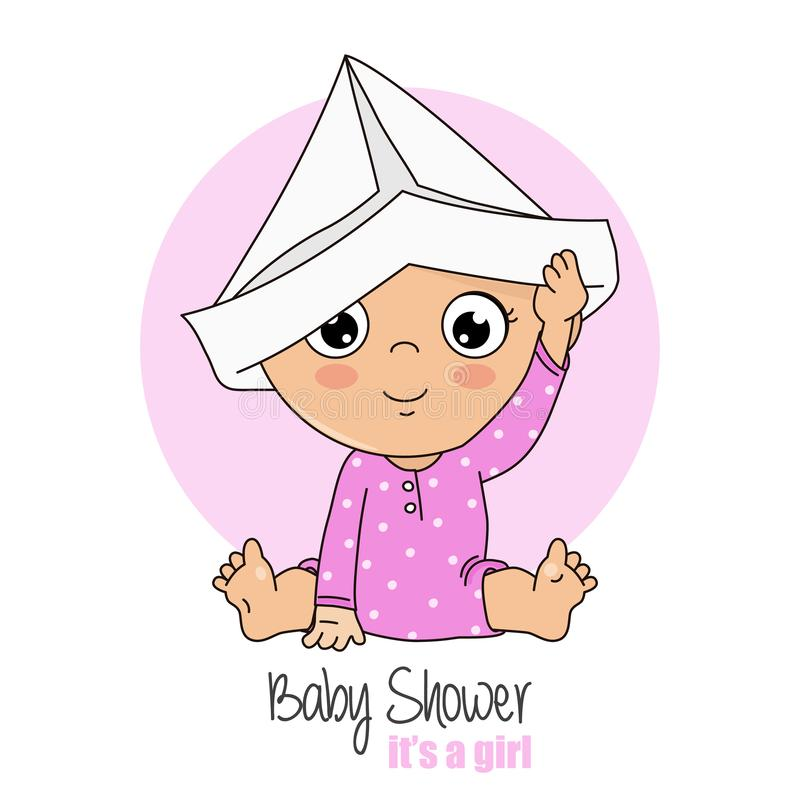 Baby girl playing with a paper cap. Baby shower card vector illustration