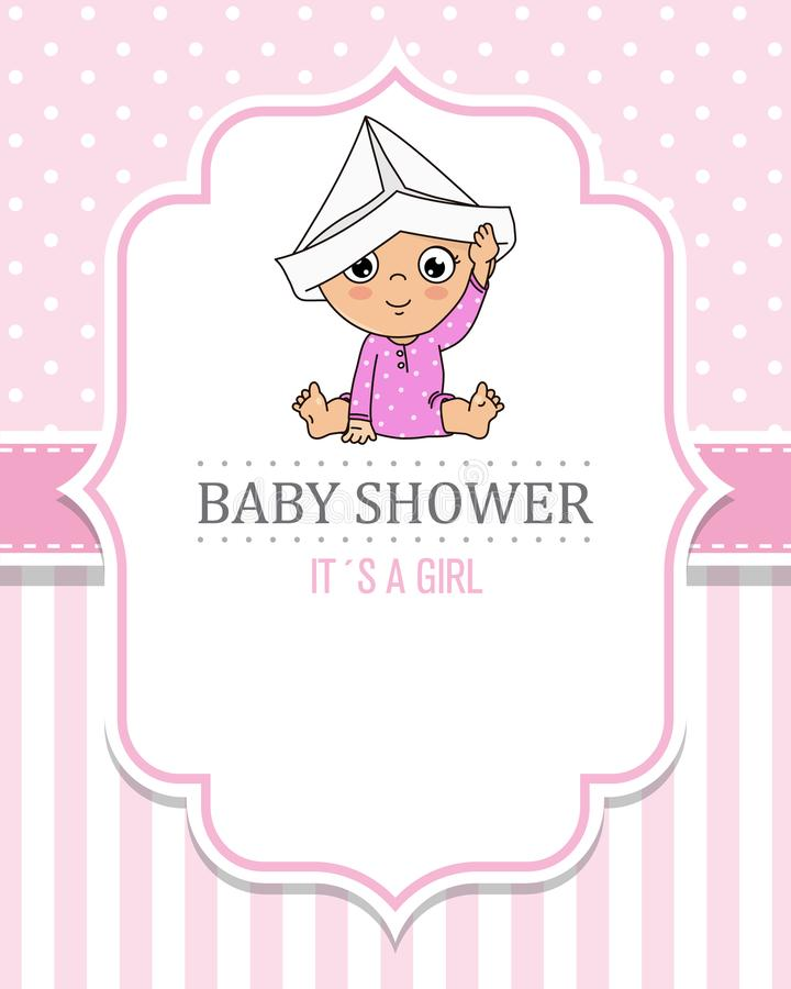 Baby girl playing with a paper cap. Baby shower card stock illustration