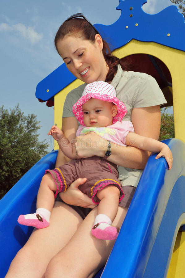 Download Baby Girl Plays With Mum In Playground Stock Image - Image: 17125567