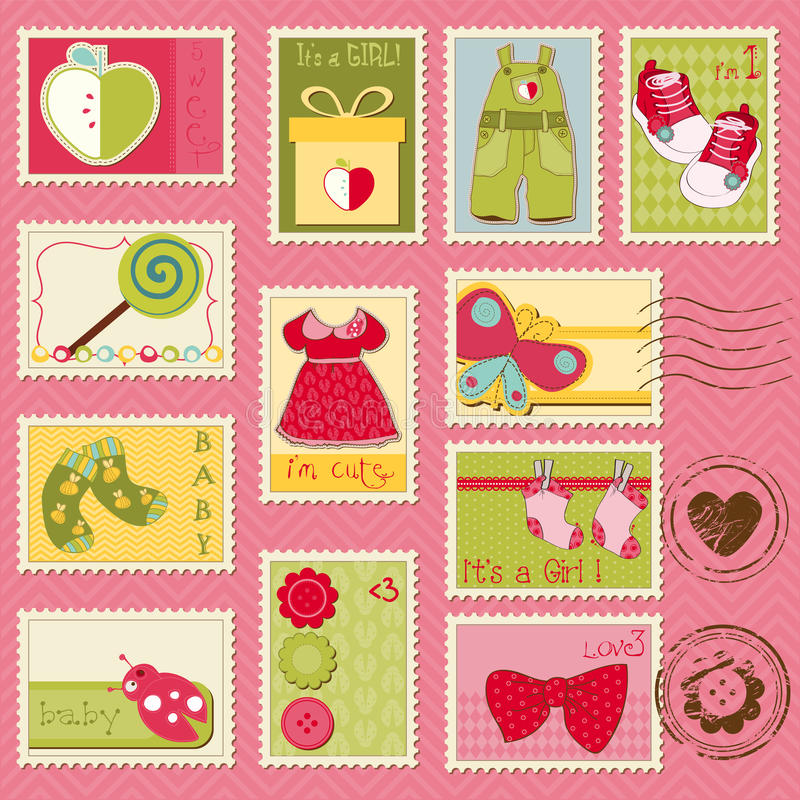 Baby Girl Postage Stamps Stock Photo