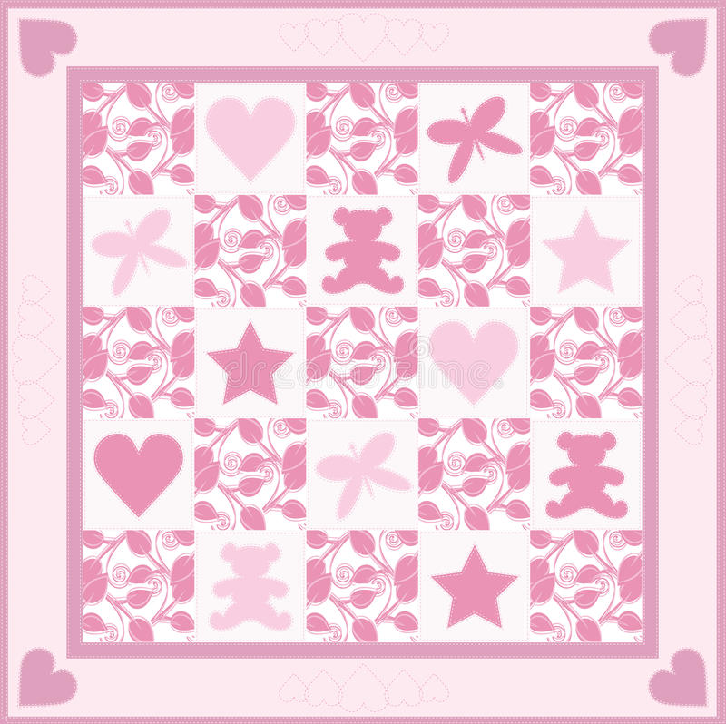 Download Baby Girl Quilt stock illustration. Image of baby, pattern - 22346690