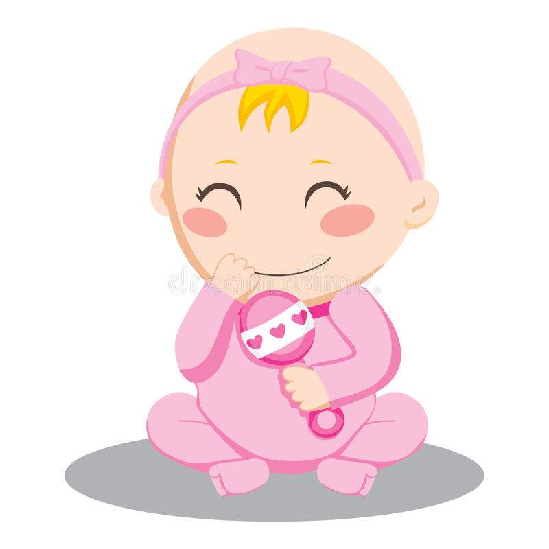 Baby Girl Rattle. Little baby girl holding and shaking a pink rattle and smiling happily