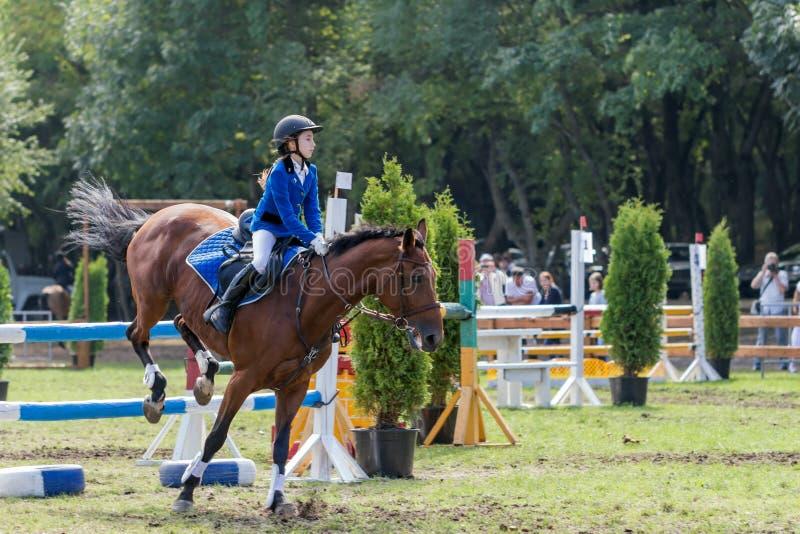 Baby girl - rider. Pyatigorsk. Russia - September 12, 2014: Pyatigorsk. Demonstration performances on show jumping on a city holiday. Young horsewoman jumps an stock images