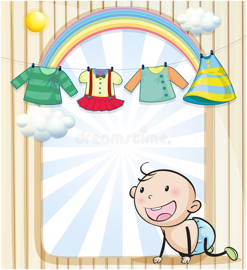 A baby girl's clothes hanging vector illustration