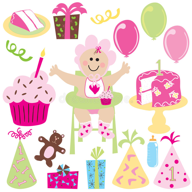 Download Baby Girls First Birthday Party Stock Vector