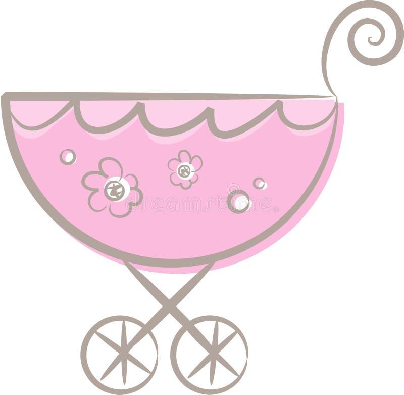 A baby (girl's) stroller (II) stock illustration