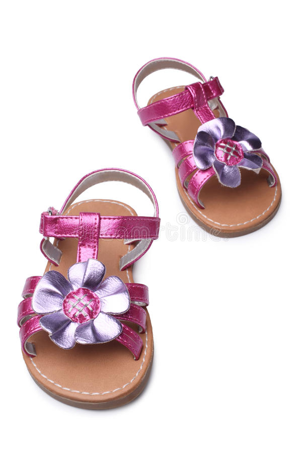 Baby girl sandals royalty free stock photos
