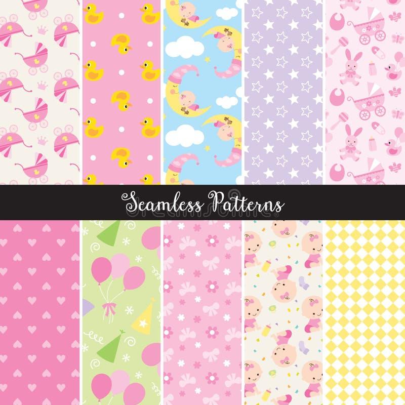 Baby Girl Seamless Pattern royalty free illustration