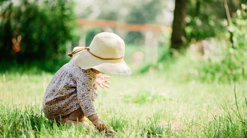 Baby girl seating on the grass - summer day of childhood, straw hat, copy space stock photo