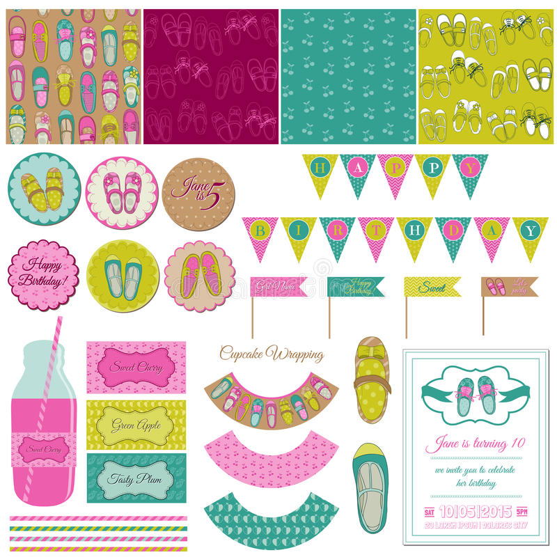Download Baby Girl Shoes Party Set stock vector. Image of decoration - 30205358
