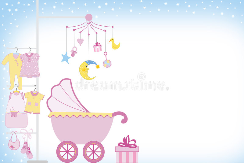 Baby girl shower royalty free illustration