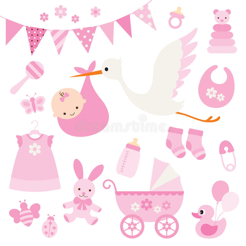Baby Girl Shower and Baby Items vector illustration