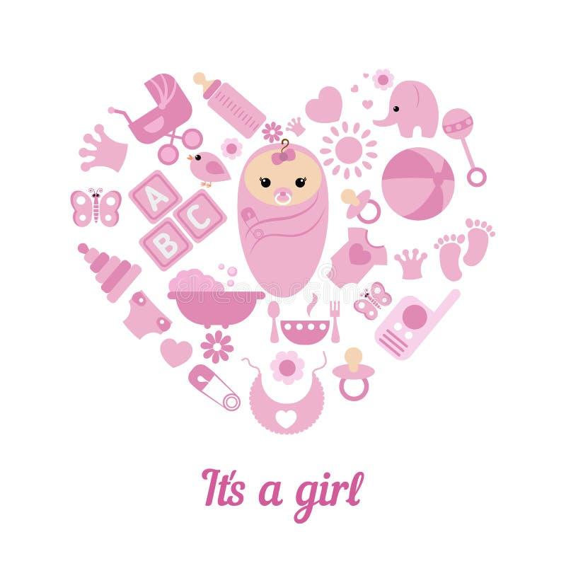 baby girl shower background stock vector image 68479286