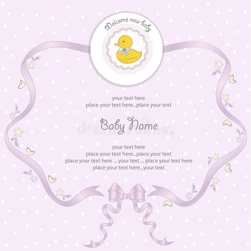 Baby girl shower card. In format stock illustration