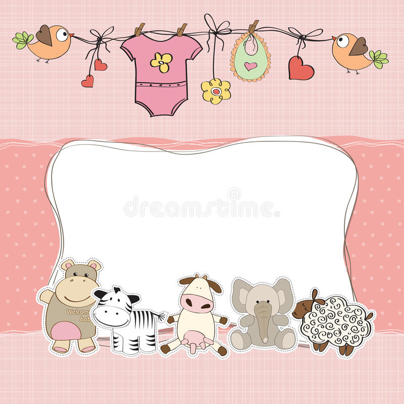 Baby girl shower card. New baby girl shower card royalty free illustration