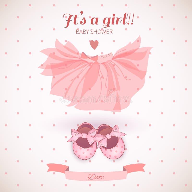 Free Baby Girl Shower Card Stock Photo - 44496810