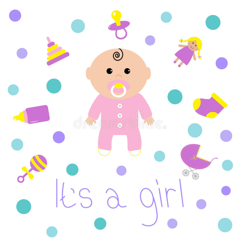Baby girl shower card Bottle, horse, rattle, pacifier, sock, doll, baby carriage, pyramid toy. Its a girl. White background. With circle dot. Isolated. Flat vector illustration