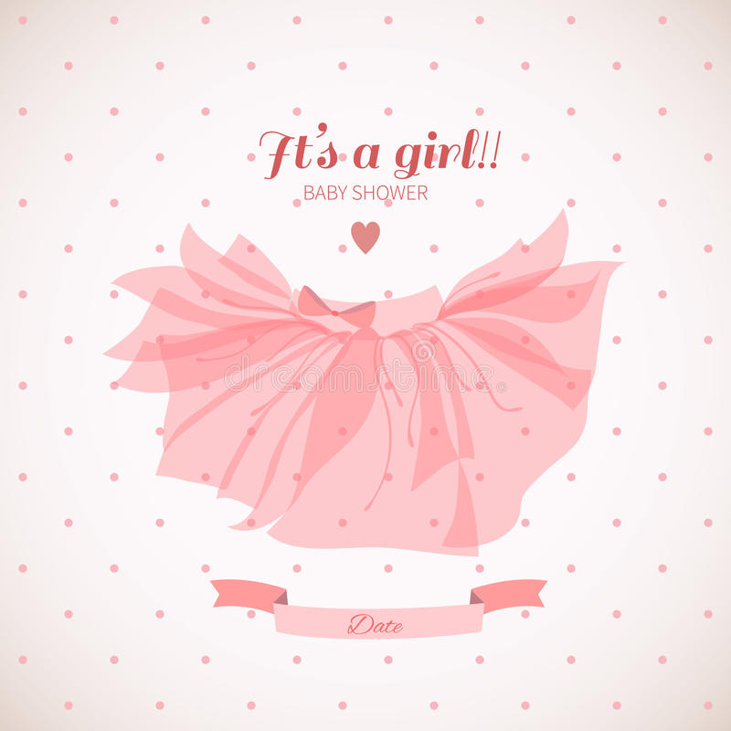 Baby girl shower card. stock image