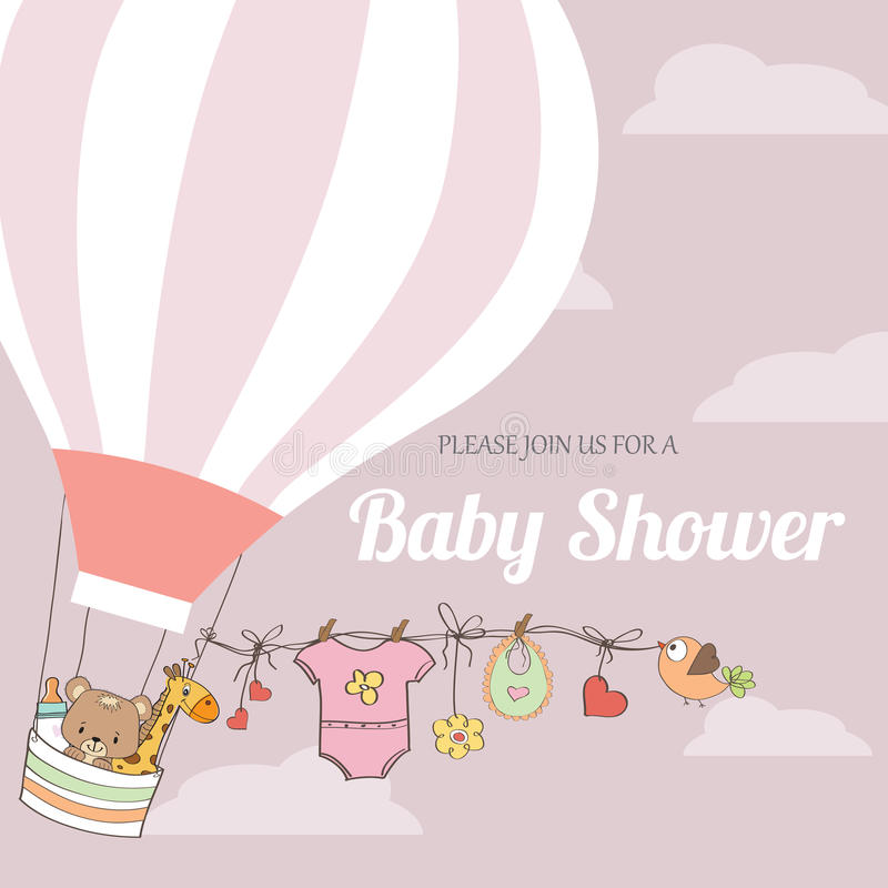 Baby girl shower card with hot air balloon vector illustration