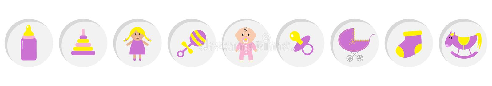 Baby girl shower card. Its a girl. Bottle, horse, rattle, pacifier, sock, doll, baby carriage pyramid toy. Round icon set line. Isolated. White background Flat royalty free illustration