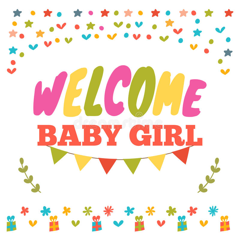 Baby girl shower card welcome baby girl baby girl arrival post baby girl shower card welcome baby girl baby girl arrival postcard baby shower greeting card vector illustration m4hsunfo