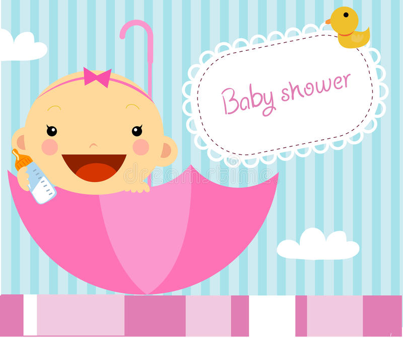 Baby girl shower. Cartoon art royalty free illustration