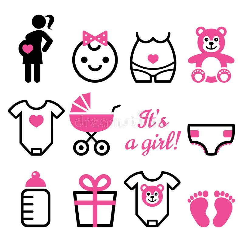 Free Baby Girl Shower Icons Set, Pregnant Womant With Girl, Newborn Baby Design Stock Photography - 105856662