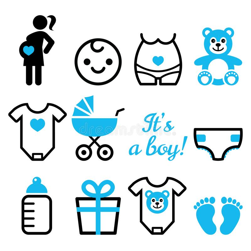 Free Baby Girl Shower Icons Set, Pregnant Womant With Girl, Newborn Baby Design Stock Photos - 105857343