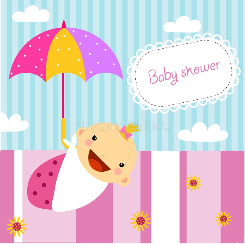 Baby girl shower. Illustration of baby girl shower vector illustration