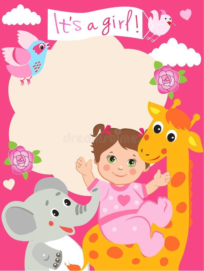 Baby girl shower invitation card with funny giraffe elephant stock download baby girl shower invitation card with funny giraffe elephant stock vector illustration filmwisefo