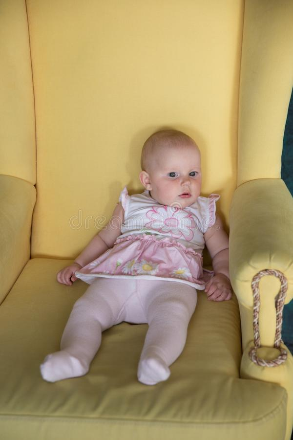 Baby Girl Sitting on Big Armchair in Studio. Baby Girl Sitting on Big Armchair. Yellow Armchair. Serious Infant Looking to Distance. Child Wearing Pink Dress stock images
