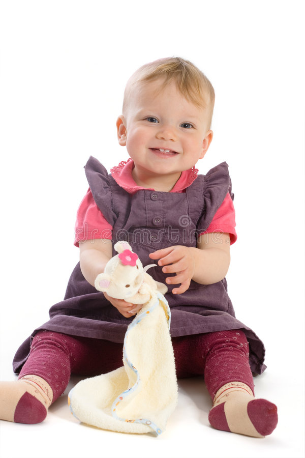 Baby Girl Sitting On Floor royalty free stock photography