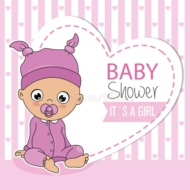Baby girl sitting royalty free illustration