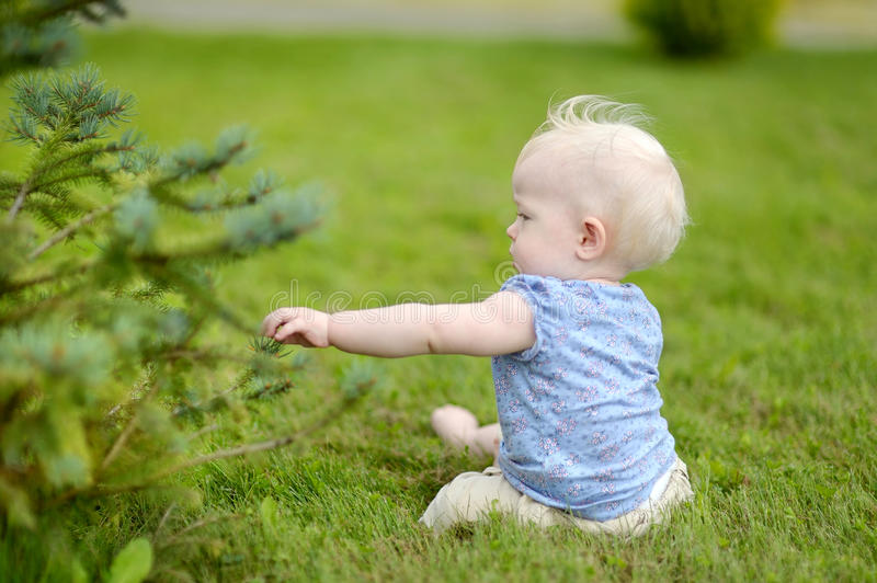 Download Baby Girl Sitting On A Reen Grass Stock Photo - Image: 32309530