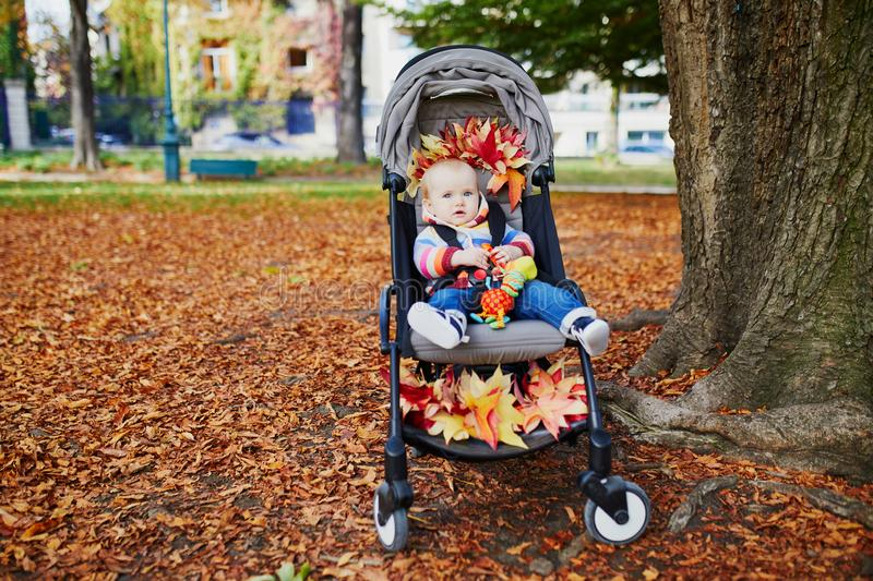Baby girl sitting in stroller with red maple leaves stock image