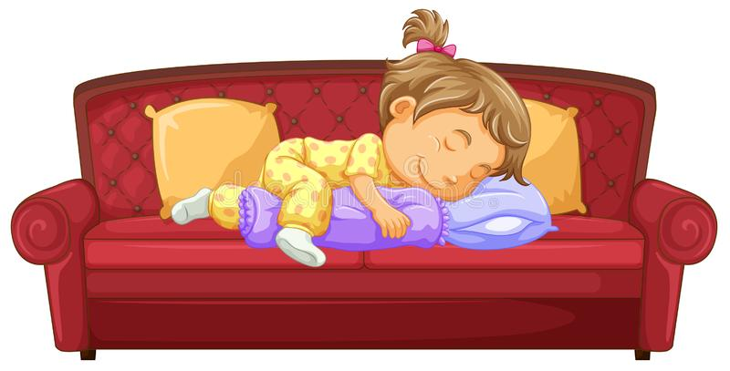 Baby girl sleeping on the couch vector illustration