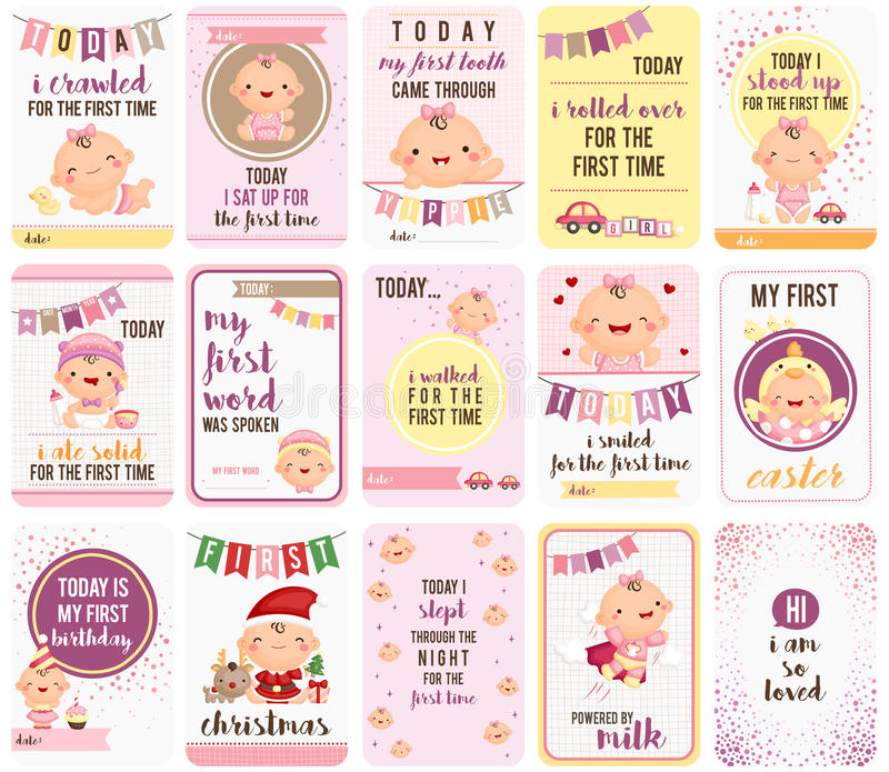 Baby Girl Stepping Stone Cards stock illustration