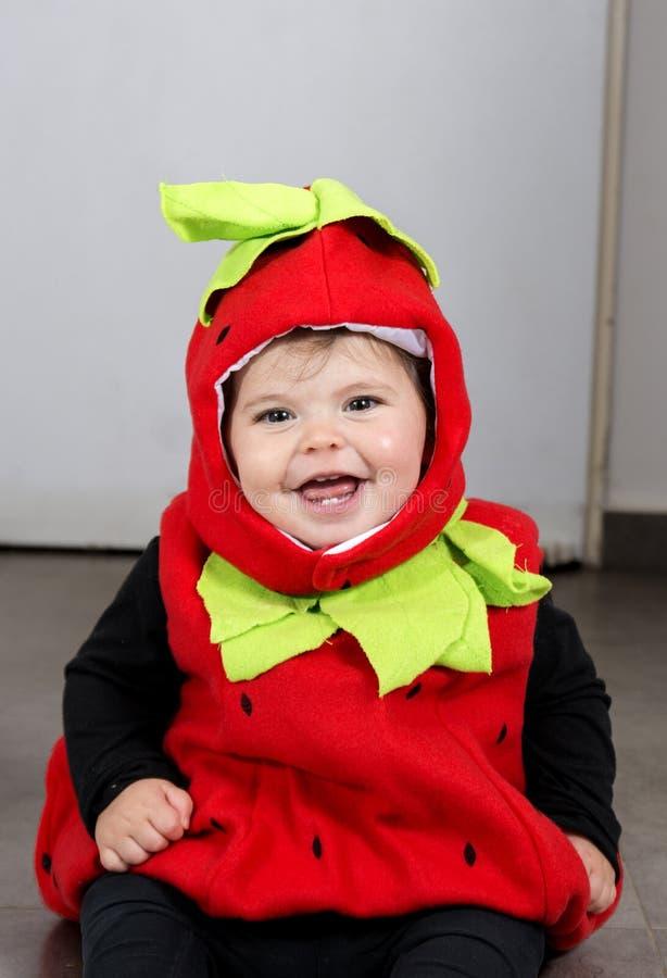 Baby Girl strawberry costume stock photo