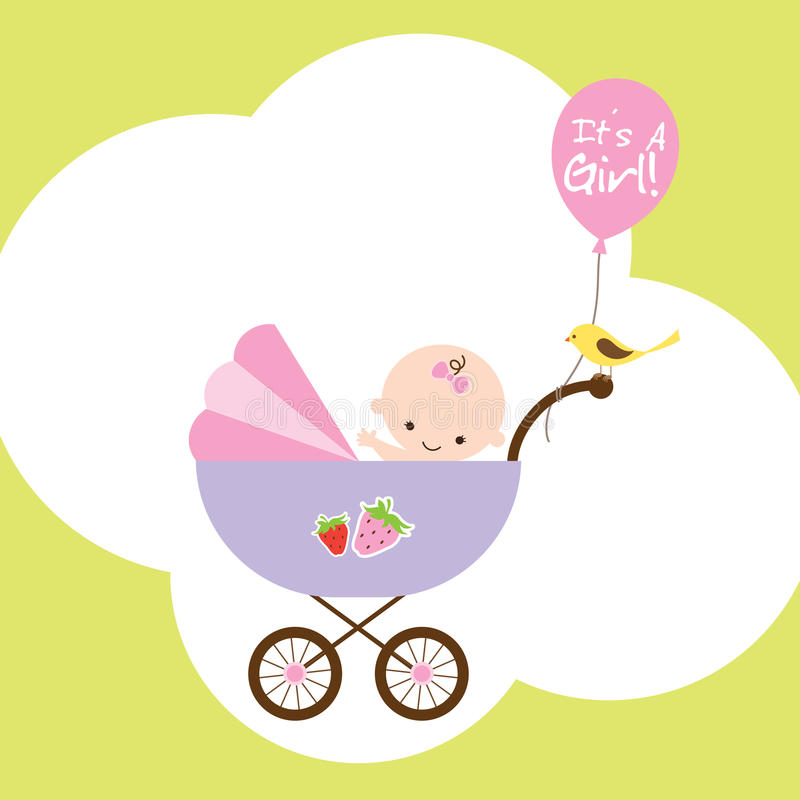 Baby Girl in Stroller. Illustration of a happy baby girl in stroller