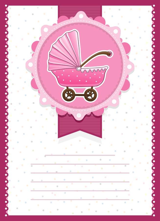 Baby Girl Stroller Invitation Card Stock Illustration - Illustration ...