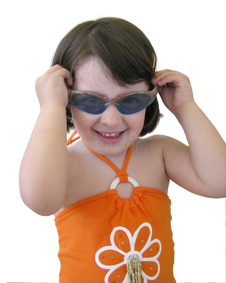 Baby girl with sunglasses stock photography