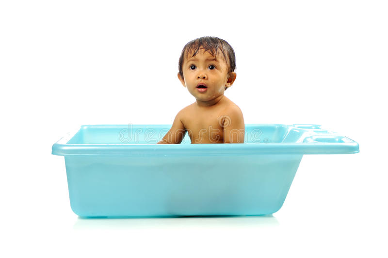 Baby Girl Take A Bath Royalty Free Stock Images