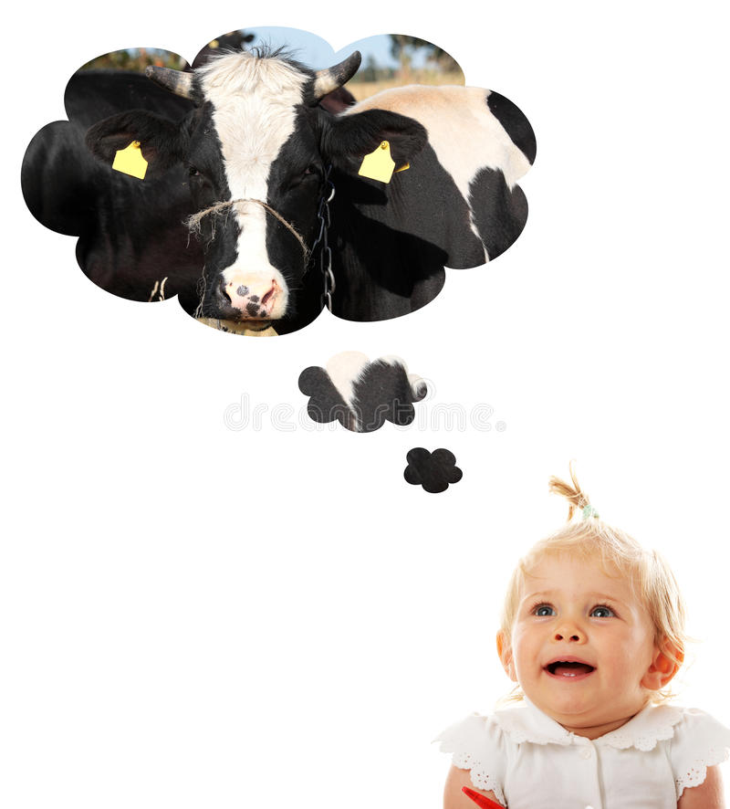 Free Baby Girl Thinking About Cow (milk) Royalty Free Stock Image - 10658086