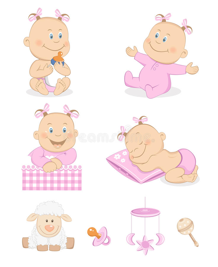 Download Baby Girl With Toys And Accessories Stock Vector - Image: 23817364